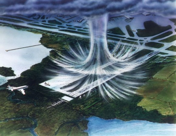 NASA artist's rendering of a microburst. Many are invisible. The air moves in a downward motion until it hits ground level. It then spreads outward in all directions. The wind regime in a microburst is opposite to that of a tornado.   Via Wikimedia Commons.