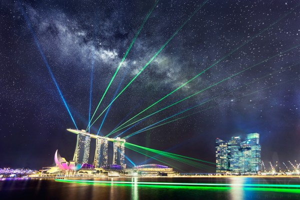 The Milky Way, and a laser light show, over Singapore July 21, 2014.  Photo by Justin Ng.  For more about this photo, visit Justin Ng's blog.