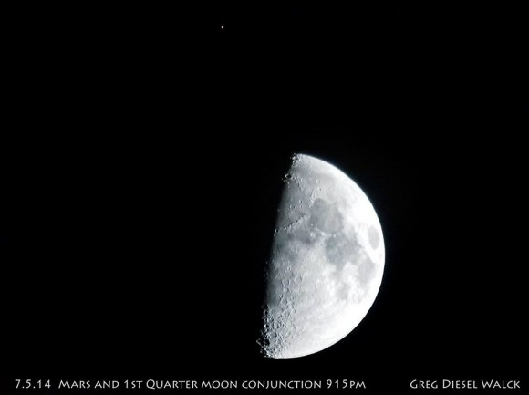 View larger. | The moon and Mars on July 5, 2014 by GregDieselLandscapePhotography.