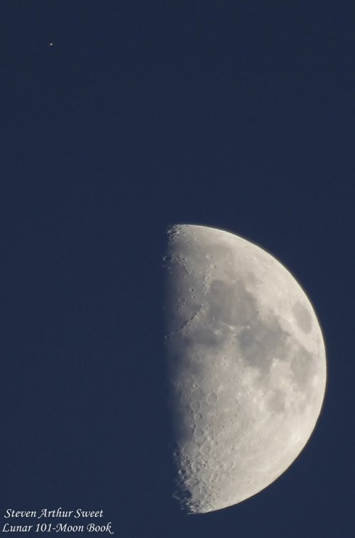 View larger. | Lunar 101 - Moon Book in Toronto caught the moon and Mars on July 5.  Visit them on Facebook.