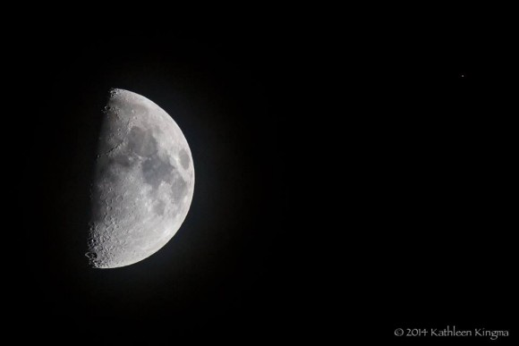 View larger. | Nice shot of moon, Mars, Spica on July 5 by Kathleen Kingma.