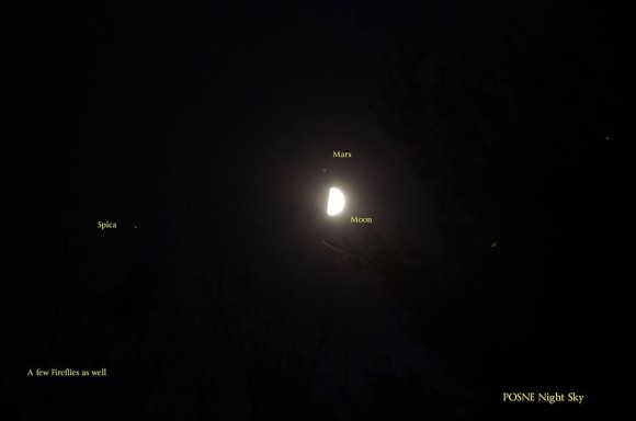 View larger. | I liked this shot of the moon, Mars and Spica on July 5 by Dennis Chabot, because it has some fireflies in it.  It feels like a summer night!