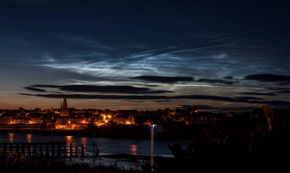 The July 3 display of noctilucent clouds as seen by Danny Spring in Berwick Upon Tweed in England.