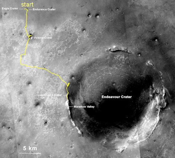 NASA's Mars Exploration Rover Opportunity, working on Mars since January 2004, passed 25 miles of total driving on July 27, 2014. The gold line on this map shows Opportunity's route from the landing site inside Eagle Crater (upper left) to its location after the July 27 (Sol 3735) drive. Image credit: NASA/JPL-Caltech/MSSS/NMMNHS