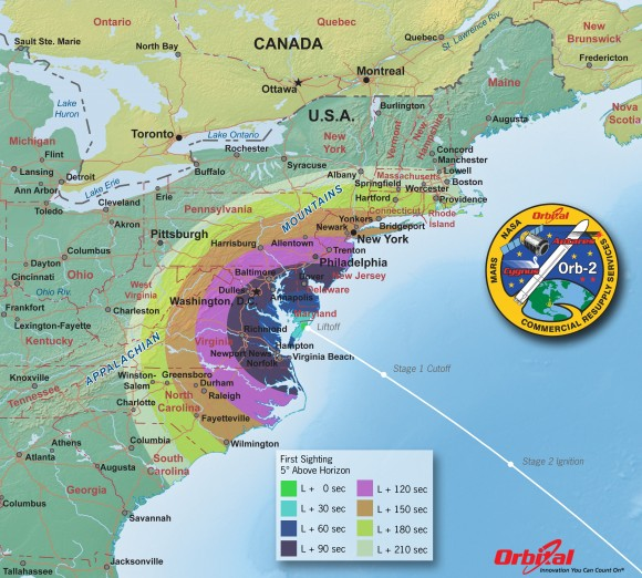 Map via Orbital Sciences