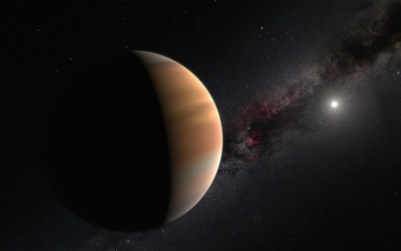 Artist's impression of a distant exoplanet - planet beyond our solar system - orbiting its star.  Via the IAU.