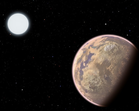 In this artist's conception, the atmosphere of an Earth-like planet displays a brownish haze - the result of widespread pollution. New research shows that the upcoming James Webb Space Telescope potentially could detect certain pollutants, specifically CFCs, in the atmospheres of Earth-sized planets orbiting white dwarf stars. Image credit: Christine Pulliam (CfA)
