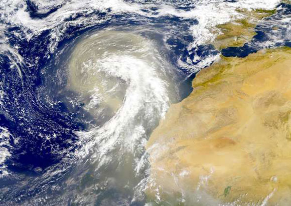A dust plume from the Sahara desert. Image Credit: NASA.