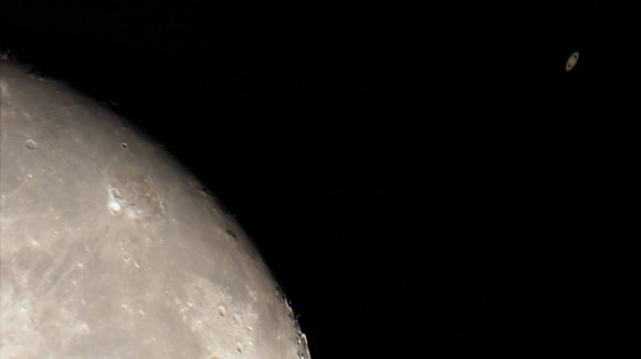 Moon (l) and Saturn shortly after an occultation of Saturn by the moon, on  June 11, 2014, in Western Australia.   Photo by Colin Legg Photography.   See more photos by Colin Legg on his Facebook page.