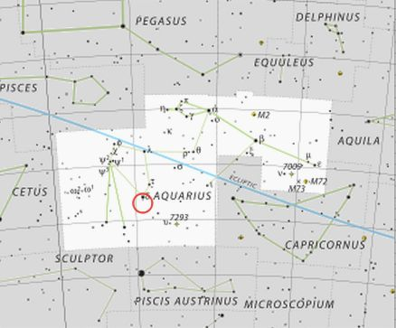 Star chart of constellation Aquarius with red circle around star Skat.
