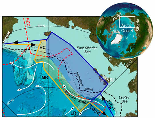 SWERUS expedition preliminary cruise plan and study areas of Leg 1 and 2. EEZ=Exclusive Economic Zone; LR=Lomonosov Ridge; MR=Mendeleev Ridge; HC=Herald Canyon; NSI=New Siberian Islands. Image via Daily Kos via University of Stockholm.