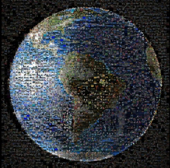 Mosaic of over 1400 tiny pictures of people making up a view of planet Earth.