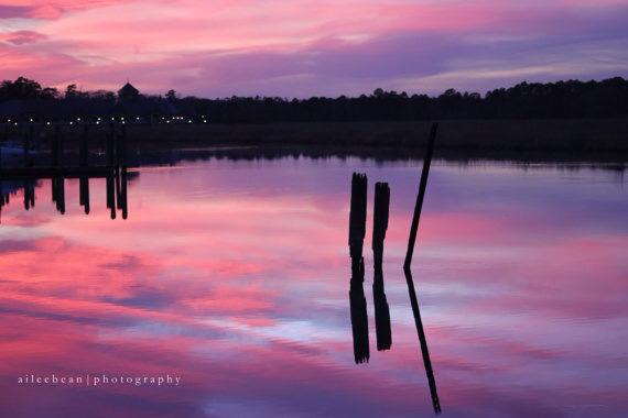 Cloudy pink sky reflected in lake with dark posts sticking out of the water.