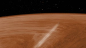 Visualisation of Venus Express during the aerobraking maneuver, which lasted from which lasted from June 18 to July 11.   During this time, the spacecraft was orbiting above Venus' thick atmosphere at an altitude of around 130 km (about 80 miles).