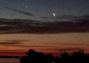 July 24 moon and Venus by Brenda Steffes