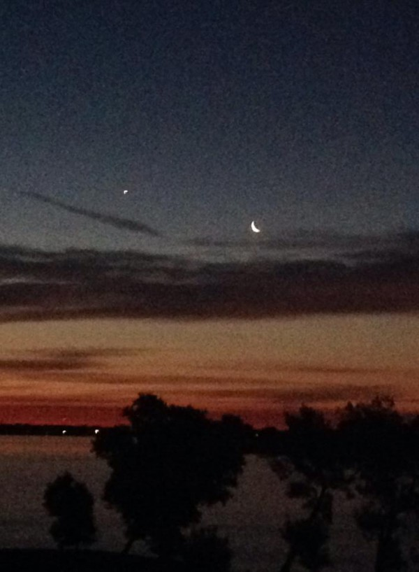 July 24 moon and Venus by Brenda Steffes.