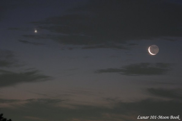 July 24, 2014 moon and Venus by Lunar 101-Moon Book.