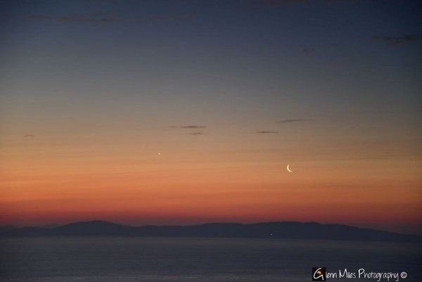 July 24, 2014 moon and Venus from Glenn Miles Photography