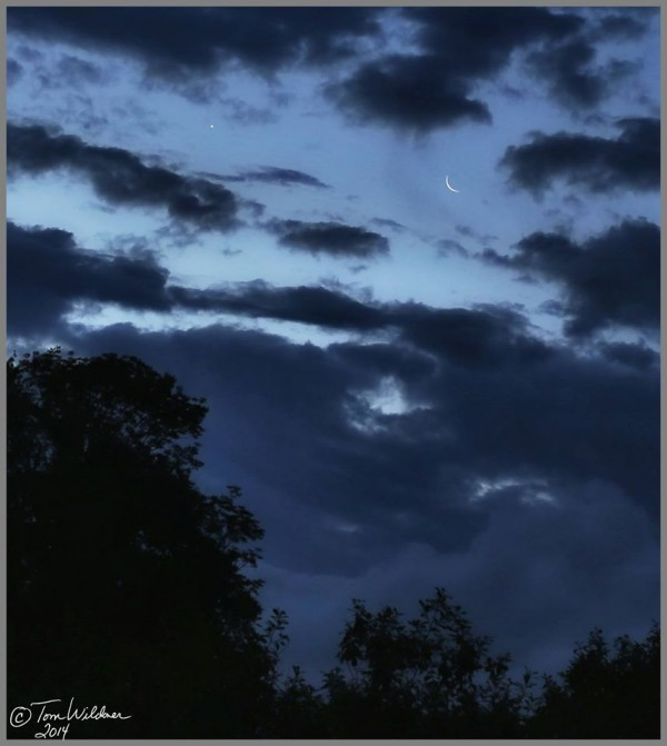July 24, 2014 moon and Venus from Tom Wildoner in White Haven, Pennsylvania.  Thank you, Tom.