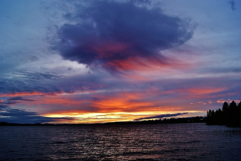 Birgit Boden captured virga during a midnight sunset in the month of June, from northern Sweden.