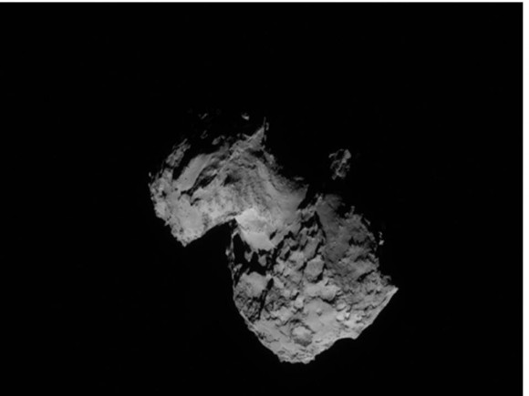 Latest image from the NavCam of the Rosetta spacecraft of Comet from 103 kilometers / 64 miles.  Credit:  ESA/Rosetta