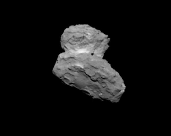 Unprecedented close image of Comet 67P/Churyumov–Gerasimenko from ESA's Rosetta Spacecraft August 1, 2014.  Credits: ESA/Rosetta/MPS for OSIRIS Team MPS/UPD/LAM/IAA/SSO/INTA/UPM/DASP/IDA.