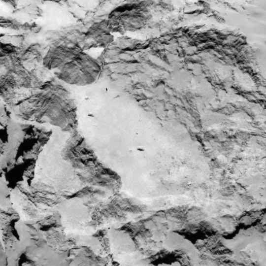 Landing site candidate A, larger lobe of Comet.  Image via OSIRIS NAC Rosetta.