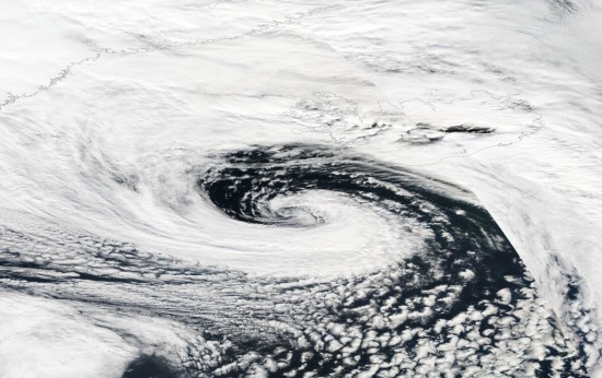 The cyclone formerly known as Hurricane Cristobal was taking dead aim on Iceland Sunday evening.   This image captured by NASA's Aqua satellite on August 31, 2014.