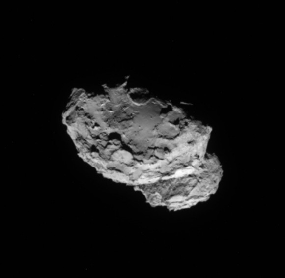 A potential Philae landing site?   Unprecedented close image of Comet 67P/Churyumov–Gerasimenko from ESA's Rosetta Spacecraft August 4, 2014.   Distance is distance of 234 kilometers / 145 miles.  Credits: ESA/Rosetta/NAVCAM.