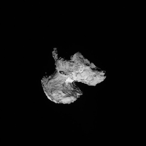 Imaged August 12, 2014 at a distance of 103 kilometers / 63.9 miles by the Rosetta Mission Navigation Camera (NavCam).  Many features look like ablation features, even though Comet 67P/Churyumov-Gerasimenko has only been in an orbit to allow sublimation [ed.note: what happens when a frozen material changes to gaseous form] only very recently, so could be impact features that have been compacted and frozen. As the resolution has increased, quite a few boulders are visible on the 'neck' and on both lobes.  Mystery is, though the comet has only been coming close enough to the sun at perihelion for sublimation since 1959, yet it looks more weathered than that.
