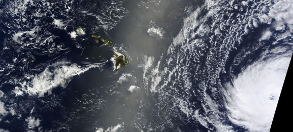 Hurricane Iselle on August 6, 2014 approaching Hawaii. Image Credit: NASA
