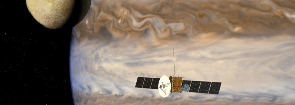 An artist's impression of the European Space Agency's JUICE probe mission to Europa.  Image credit: ESA/AOES