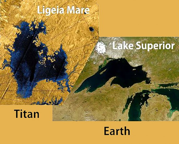 A comparison of the size of Lake Superior in the U.S. to Ligeia Mare on Titan, via AstroBob