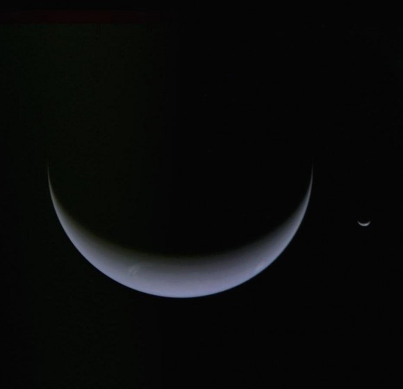Neptune and Triton, via Voyager 2.