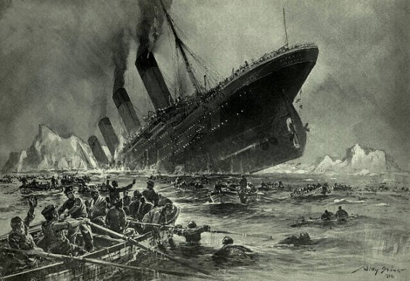 """Der Untergang der Titanic."" Illustration by Willy Stöwer"