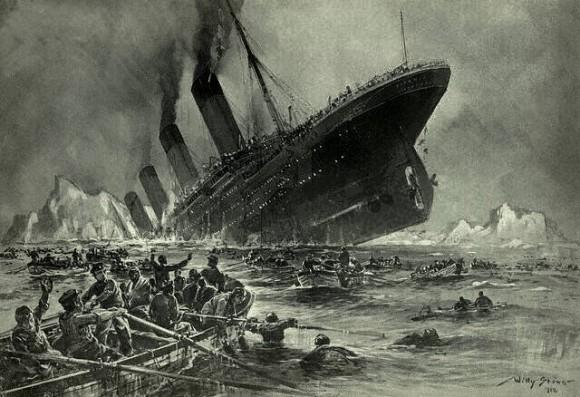 """""""Der Untergang der Titanic."""" Illustration by Willy Stöwer"""