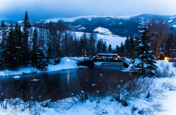 Blue hour over the lower Blue River Valley in Summit County, Colorado by Daniel McVey.  Photo taken February 2014.