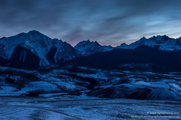 Blue hour of the Mighty Gore Range in Summit County, Colorado by Daniel McVey.