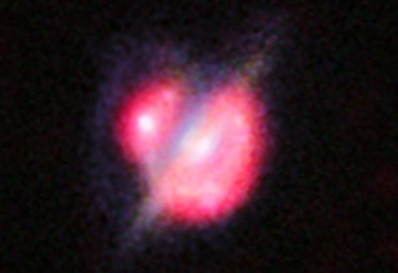 A collision that took place between two galaxies when the universe was only half its current age. This picture combines the views from the Hubble Space Telescope and the Keck-II telescope on Hawaii (using adaptive optics) along with the ALMA images shown in red. Image credit: ESO, ALMA (NRAO/ESO/NAOJ); W.M. Keck Observatory; NASA/ESA