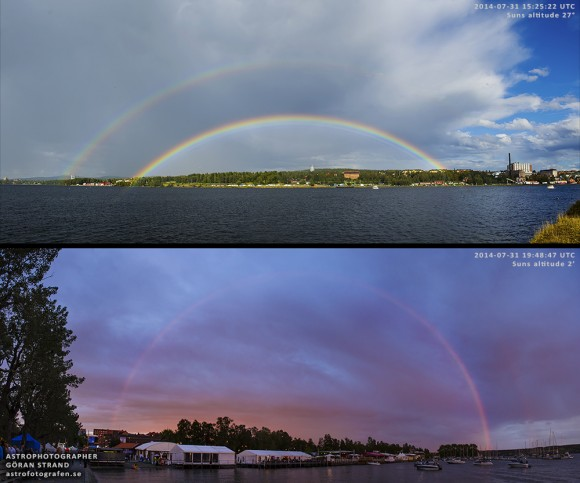 2 images: very flat arc regular double rainbow and somewhat taller red rainbow.