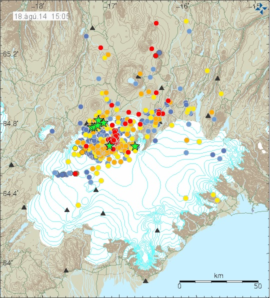 Detail of earthquake activity on Monday, August 18 with detail of glacier.