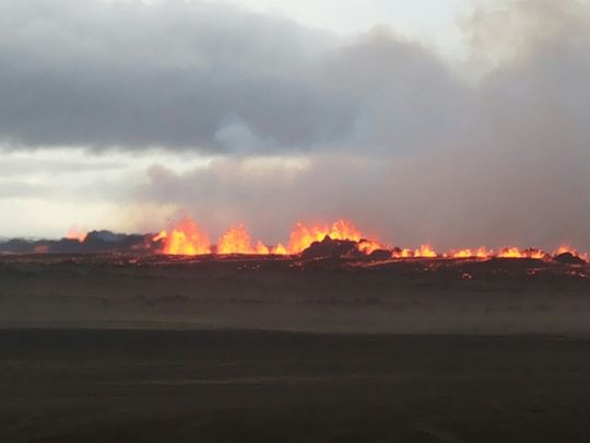 There are lava fountains more than 50 meters high at the At the Holuhraun lava field, which has been erupting since Sunday morning, August 31.