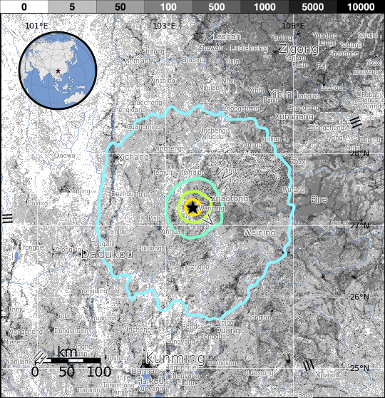 Exposure of where the quake was felt in southern China. Image Credit: USGS