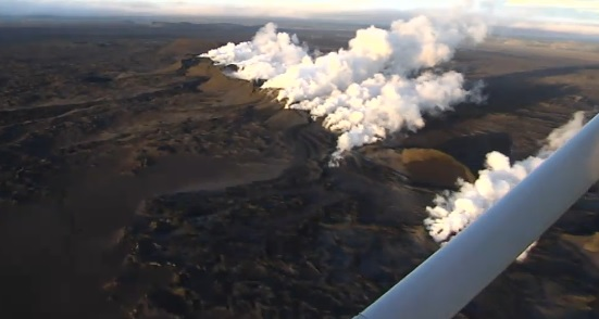 Iceland's volcanic eruption as seen from the air. (source: RUV.is)