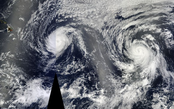 Iselle and Julio bear down on Hawaii.  NASA image.