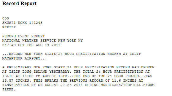 Record rainfall occurred in New York State last week in Islip, NY. Image Credit: NOAA