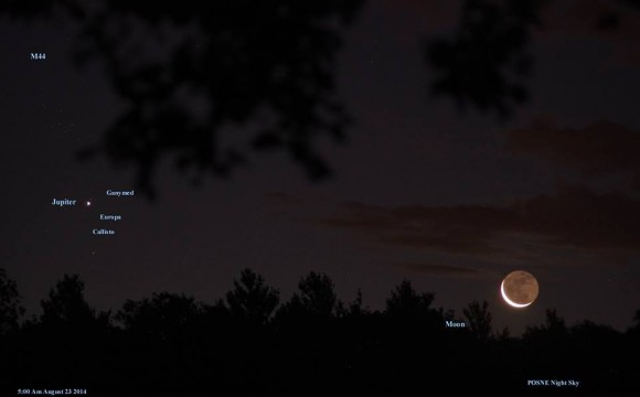 View larger. | Dennis Chabot captured this image of the moon, Jupiter, some of Jupiter's moons, and M44 aka the Beehive star cluster.  Click to the larger view to see the Beehive - a sprinkling of stars above Jupiter.