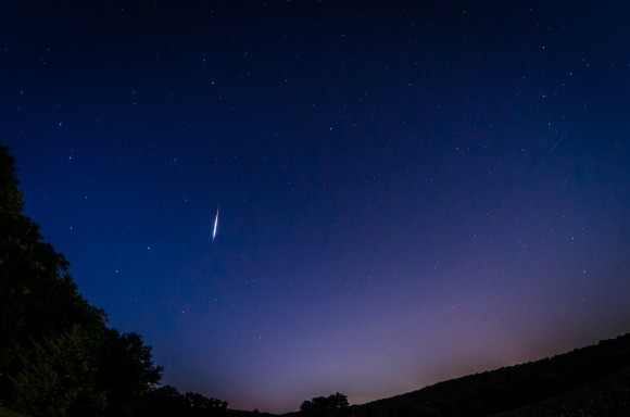 Liz Benek in Pennsylvania caught this very bright meteor, likely a Perseid fireball, on the morning of August 13.  She wrote: