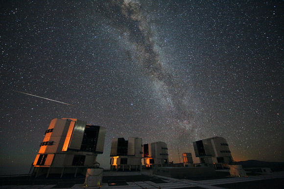 The Perseid meteors are even visible in the Southern Hemisphere, although the numbers are not as high. Photo credit: ESO/S. Guisard