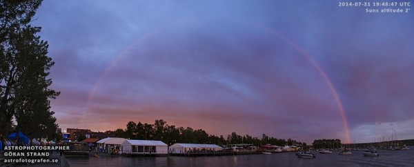 Göran Strand of Sweden captured this double red rainbow.  Used with permission.